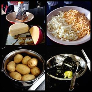 1 kg de batatas, 200 gramas de queijo minas tradicional ralado, 200 gramas de queijo gouda ralado e 1 colher (sopa) de manteiga.